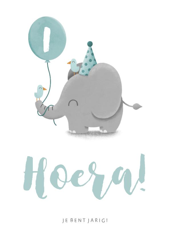 Verjaardagskaarten - Verjaardagskaart olifantje met vogels en ballon