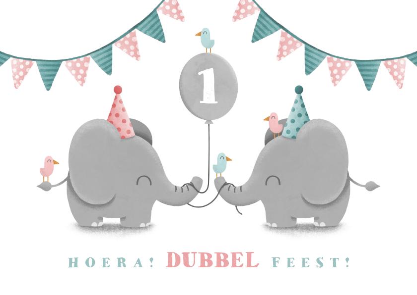 Verjaardagskaarten - Verjaardagskaart olifantjes tweeling met ballon en slingers