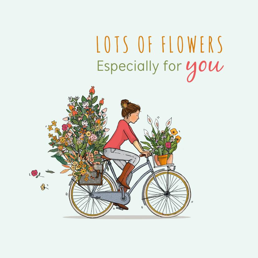Verjaardagskaarten - Verjaardagskaart op de fiets met veel bloemen