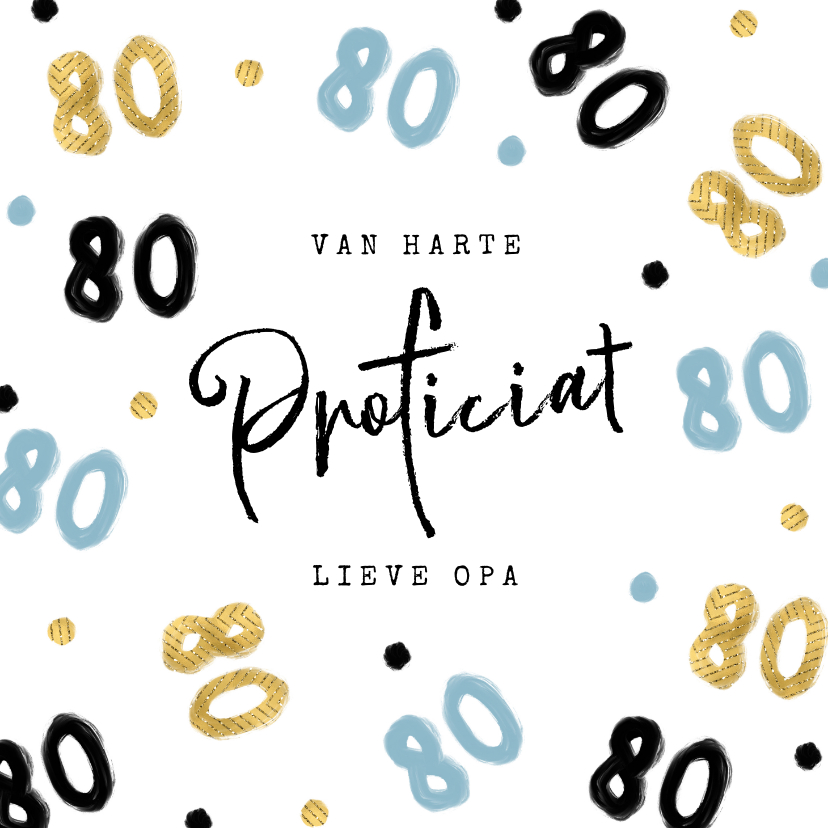Verjaardagskaarten - Verjaardagskaart opa 80 jaar confetti blauw goud