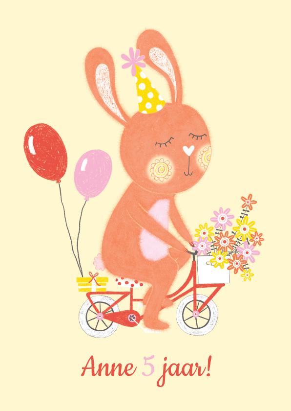 Verjaardagskaarten - Verjaardagskaart oranje konijn fiets