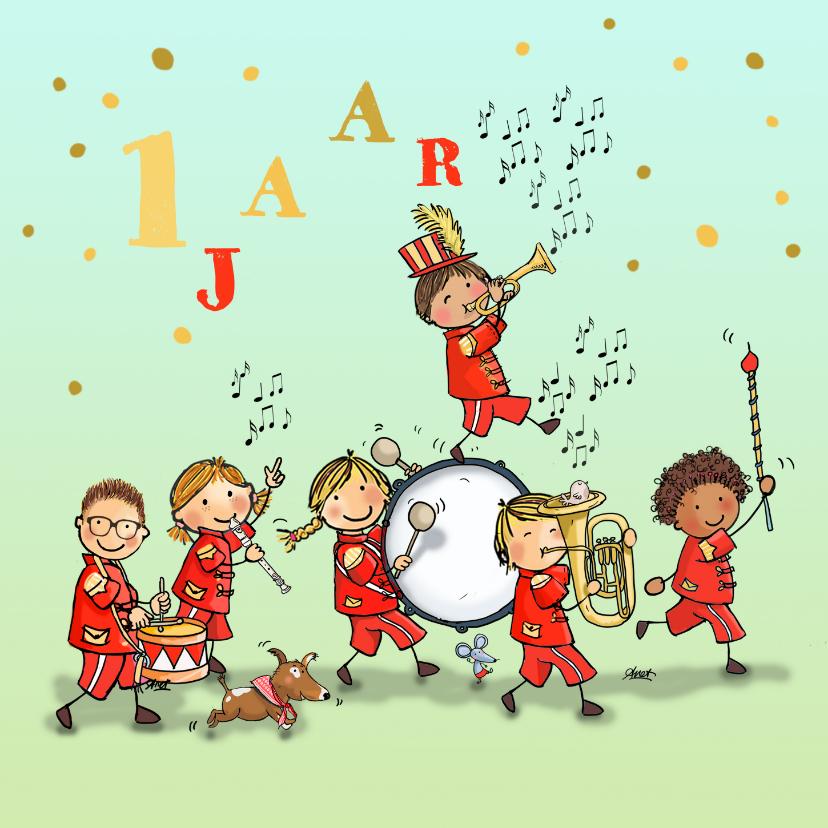 Verjaardagskaarten - Verjaardagskaart orkest rood av