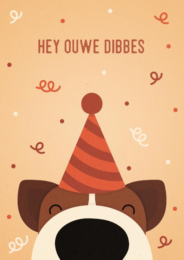Verjaardagskaarten - Verjaardagskaart ouwe dibbes hond met feesthoed