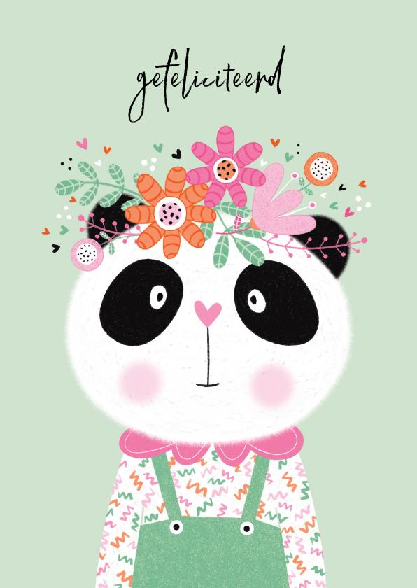 Verjaardagskaarten - Verjaardagskaart panda bloemen mint