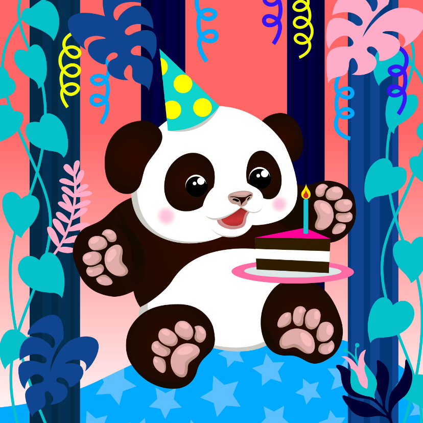 Verjaardagskaarten - Verjaardagskaart panda met taart, slingers en planten