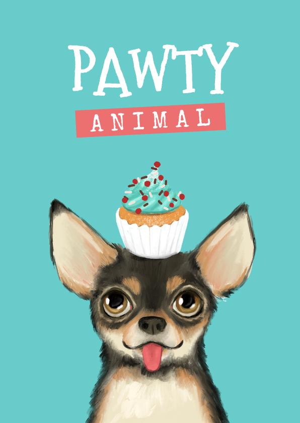Verjaardagskaarten - Verjaardagskaart pawty animal hond taart