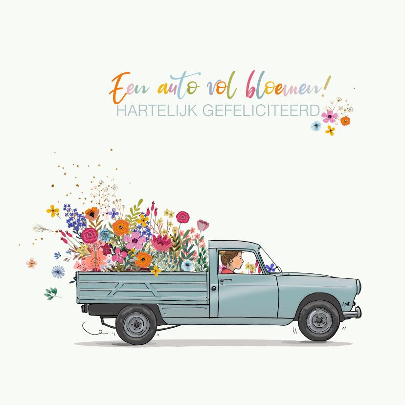 Verjaardagskaarten - Verjaardagskaart Peugot Pick up grijs bloemen