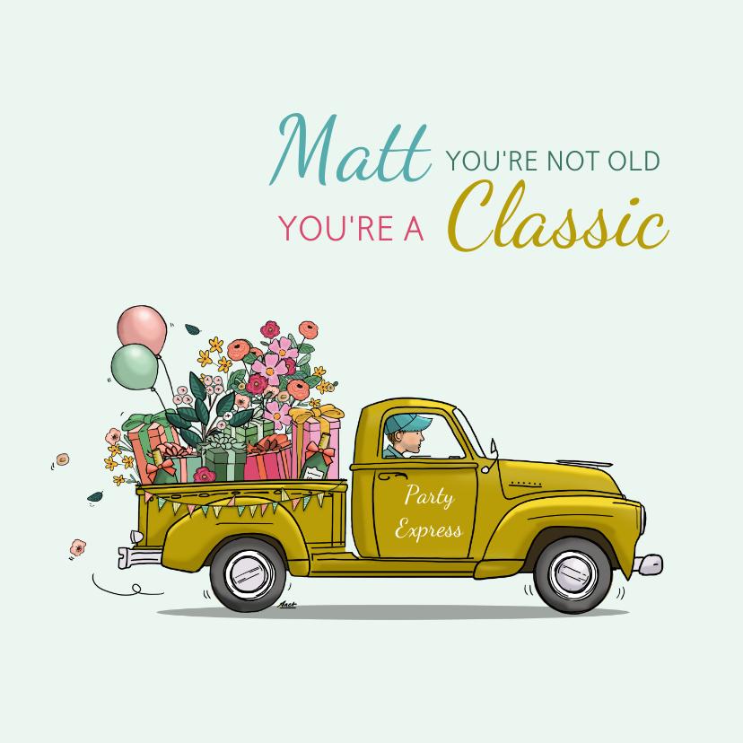 Verjaardagskaarten - Verjaardagskaart pick-up truck met bloemen