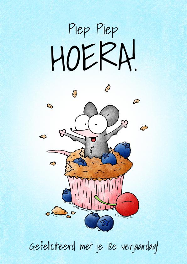 Verjaardagskaarten - Verjaardagskaart - Piep piep hoera met muisje in muffin