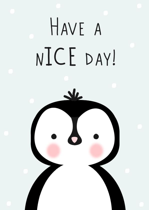 Verjaardagskaarten - Verjaardagskaart pinguin, aanpasbare kleur - WW
