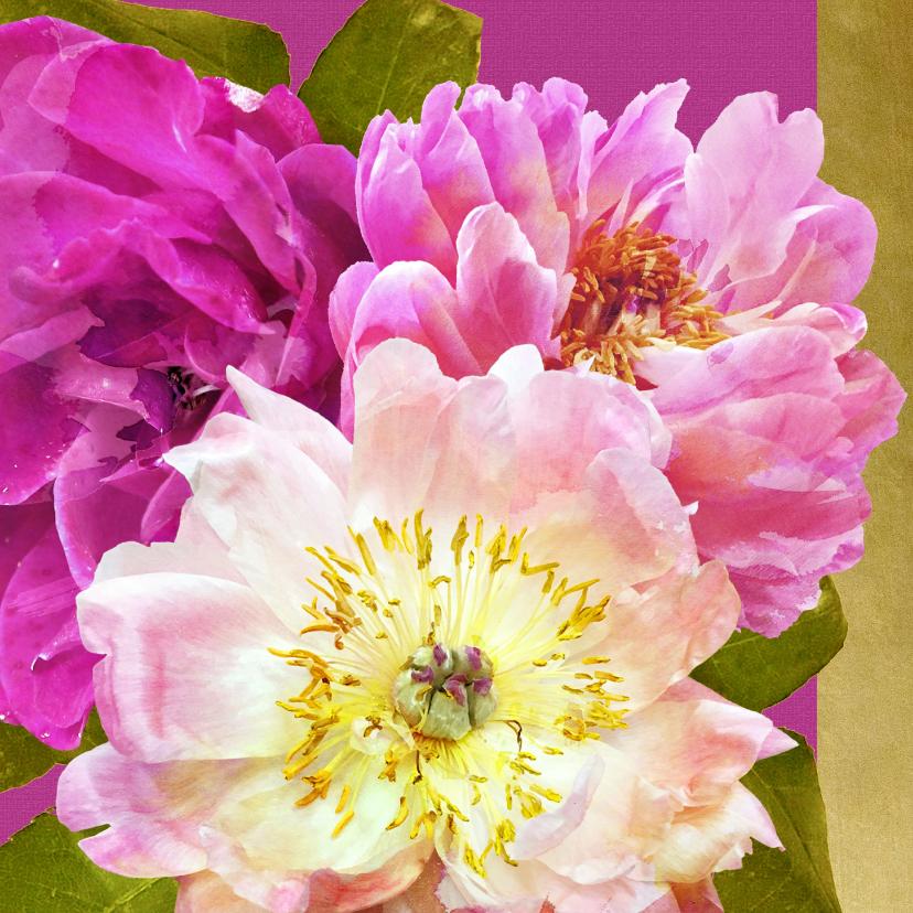 Verjaardagskaarten - Verjaardagskaart pioenrozen boeket roze
