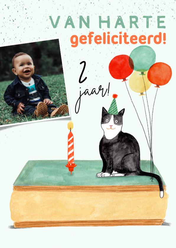 Verjaardagskaarten - Verjaardagskaart poes tompouce ballonnen foto 2 jaar