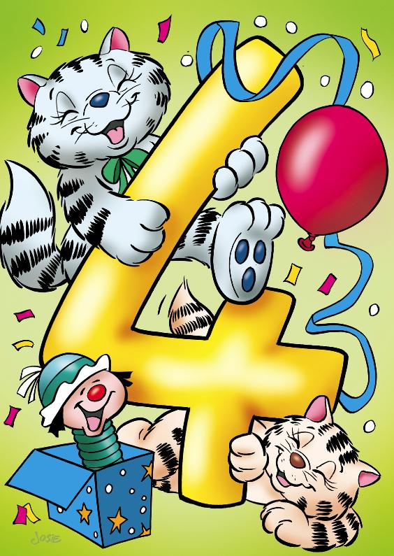 Verjaardagskaarten - Verjaardagskaart poesjes cijfer vier