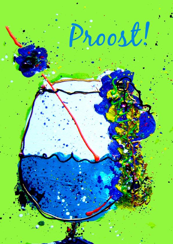 Verjaardagskaarten - Verjaardagskaart Proost Cocktail