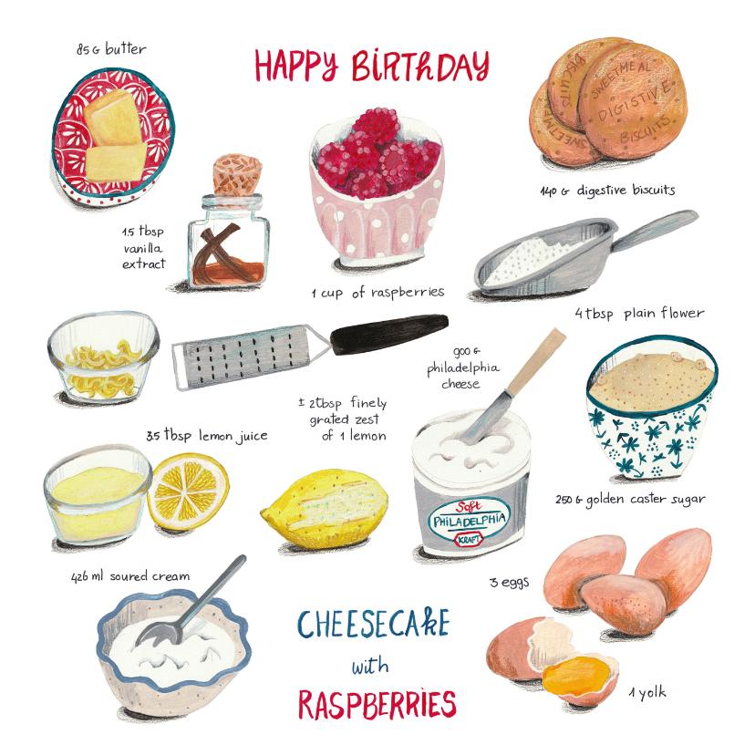 Verjaardagskaarten - Verjaardagskaart recept taart Cheesecake