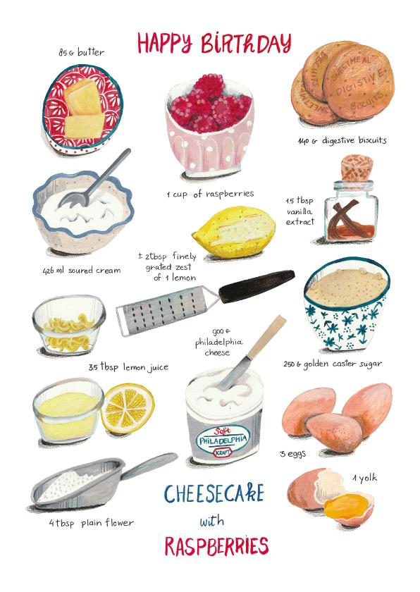 Verjaardagskaarten - Verjaardagskaart recept taart