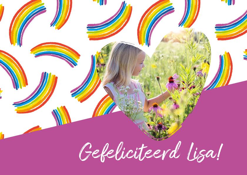 Verjaardagskaarten - Verjaardagskaart regenbogen met foto