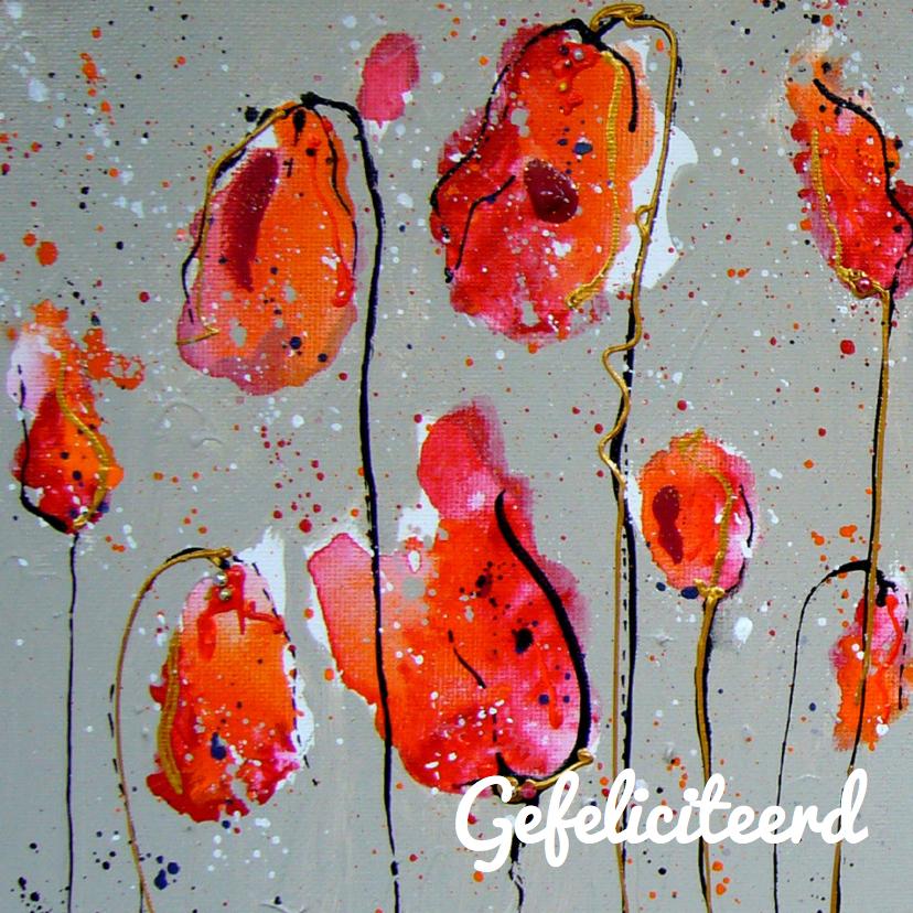 Verjaardagskaarten - Verjaardagskaart rode klaprozen
