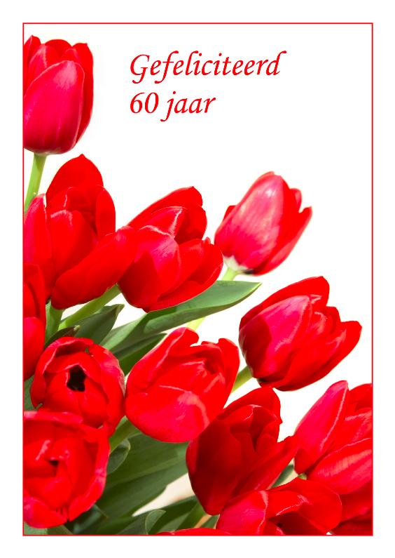 Verjaardagskaarten - Verjaardagskaart rode tulpen 60