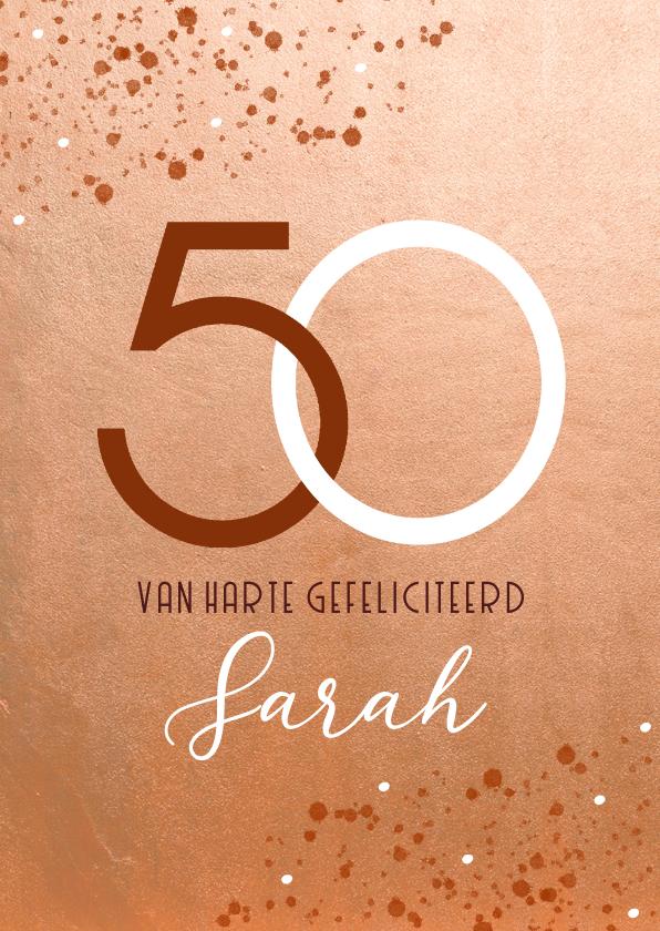 Verjaardagskaarten - Verjaardagskaart roestkleur 50 jaar Sarah