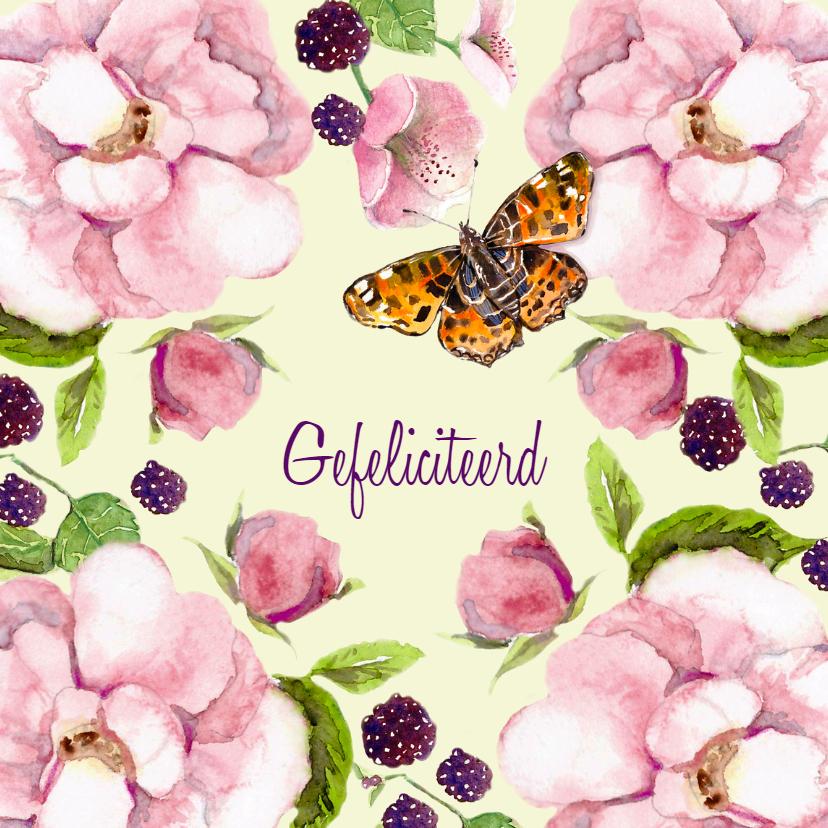 Verjaardagskaarten - Verjaardagskaart Romantische roos met vlinder