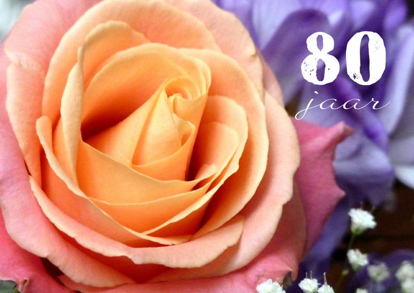 Verjaardagskaarten - Verjaardagskaart roos v 80 jaar
