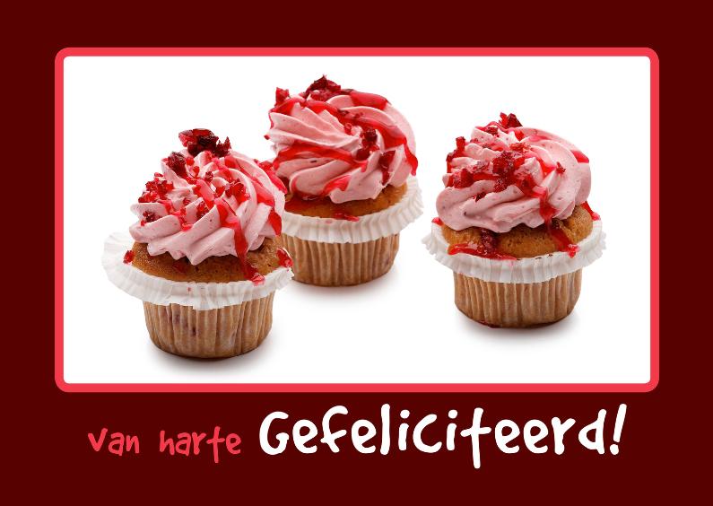 Verjaardagskaarten - Verjaardagskaart roze Cupcake OT
