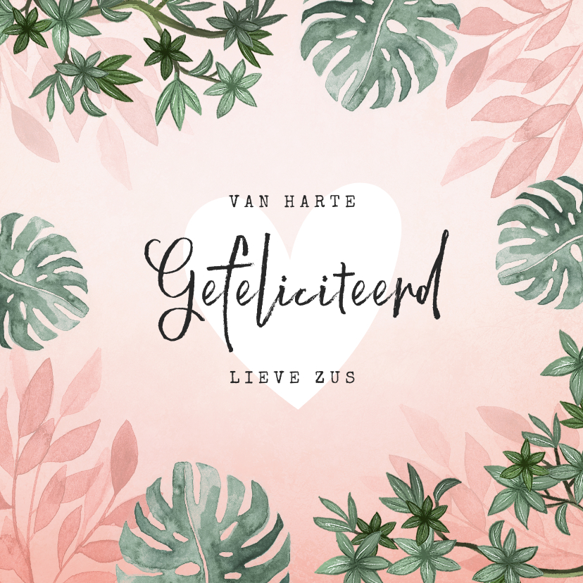 Verjaardagskaarten - Verjaardagskaart roze jungle botanisch vrouw jarig hartje