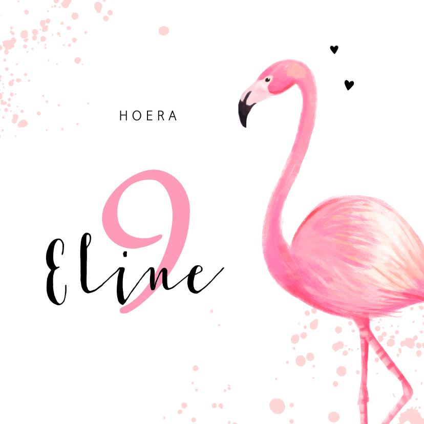 Verjaardagskaarten - Verjaardagskaart roze met flamingo en spetters