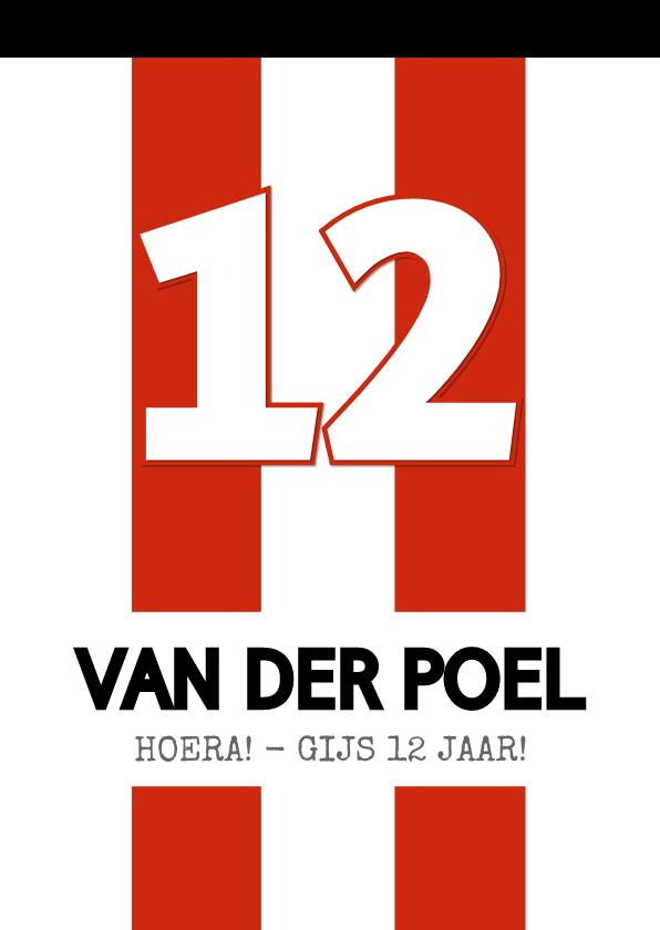 Verjaardagskaarten - Verjaardagskaart rugnummer voetbal met leeftijd - Eindhoven