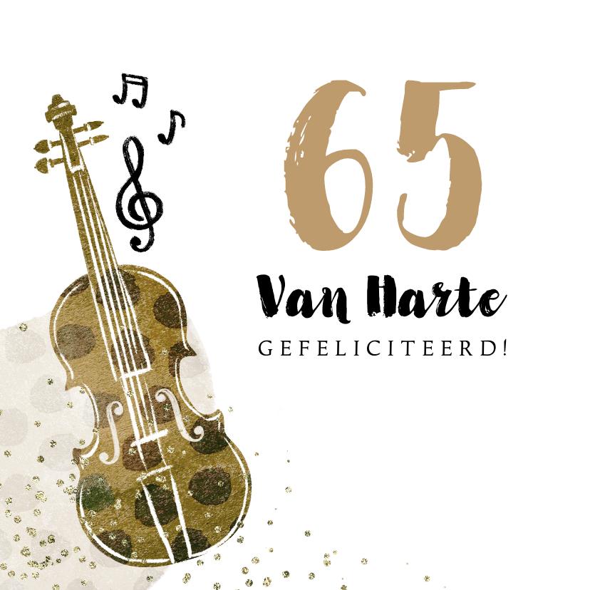 Verjaardagskaarten - Verjaardagskaart senior muziek viool getal 65 confetti