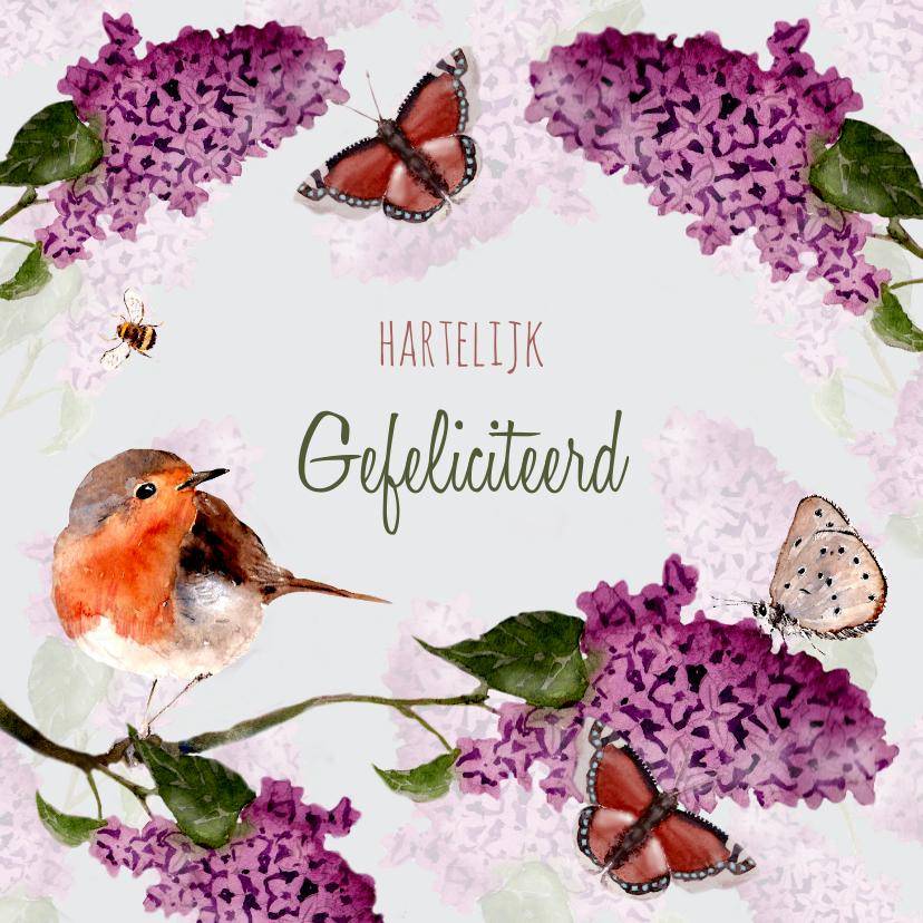 Verjaardagskaarten - Verjaardagskaart Seringenbloesem met vogel