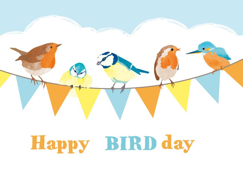 Verjaardagskaarten - Verjaardagskaart slinger vogels