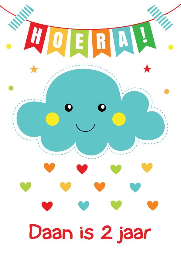 Verjaardagskaarten - Verjaardagskaart slinger wolkje blauw
