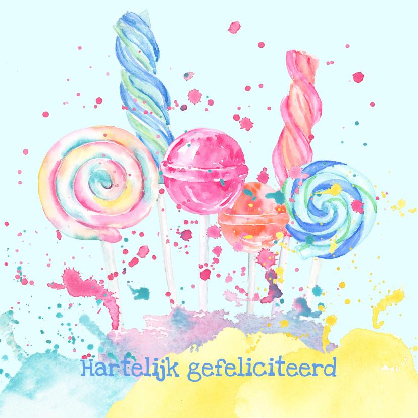 Verjaardagskaarten - Verjaardagskaart snoepgoed en spetters waterverf