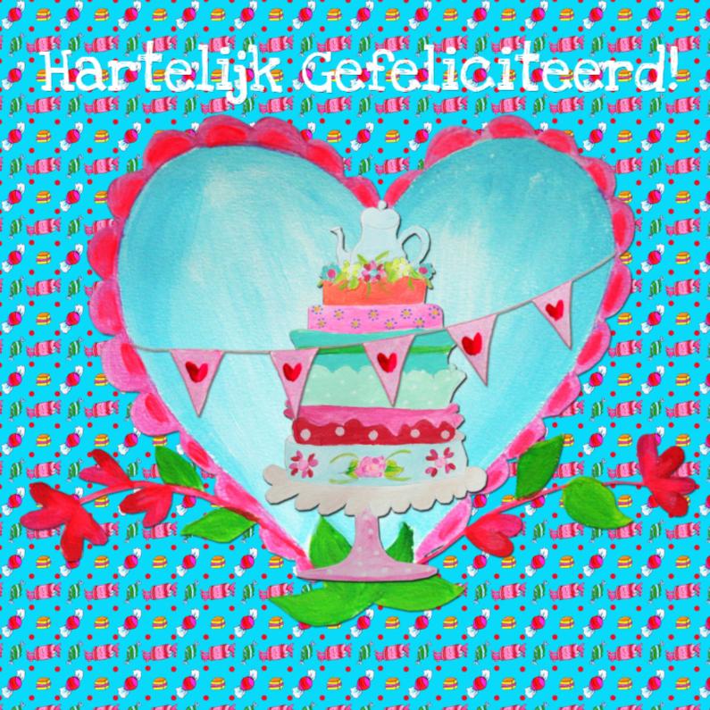 Verjaardagskaarten - Verjaardagskaart Snoeptaart PA