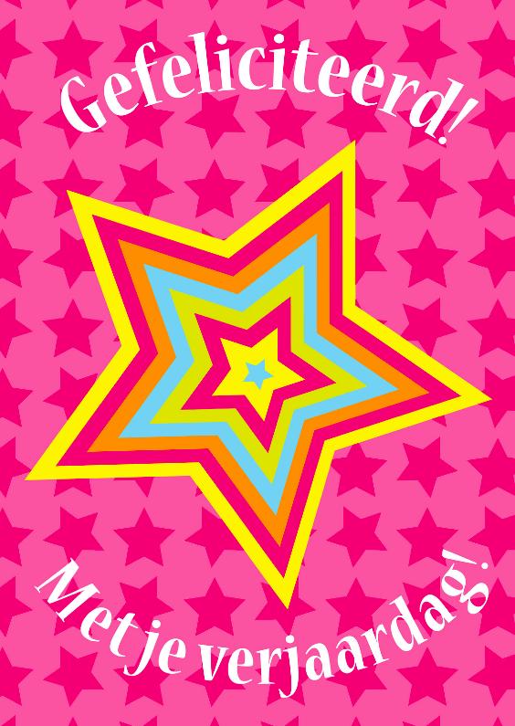 Verjaardagskaarten - Verjaardagskaart Sterren roze