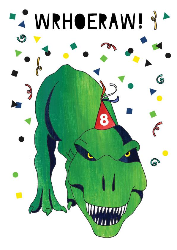 Verjaardagskaarten - Verjaardagskaart stoer dinosaurus leeftijd