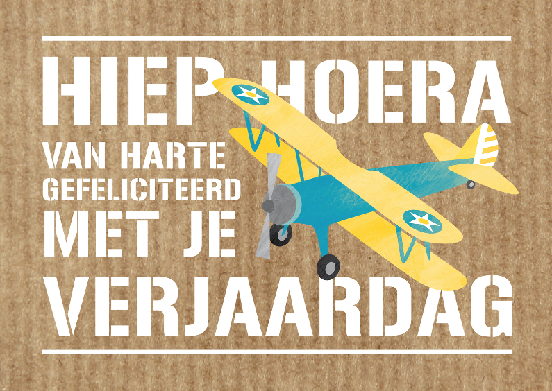 Verjaardagskaarten - Verjaardagskaart stoer vliegtuig