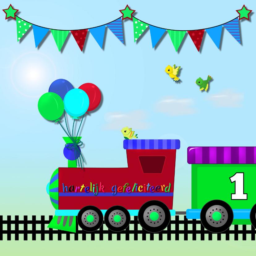Verjaardagskaarten - Verjaardagskaart stoere trein