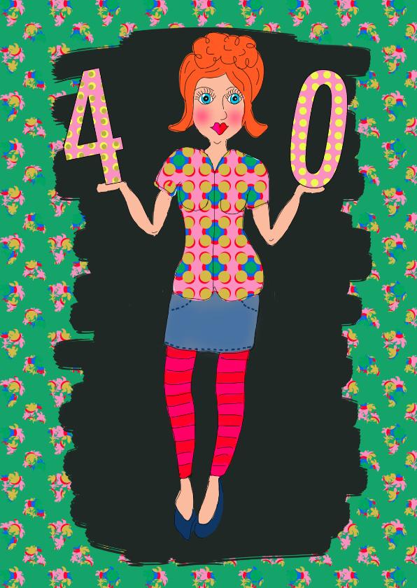 Verjaardagskaarten - Verjaardagskaart strakke 40