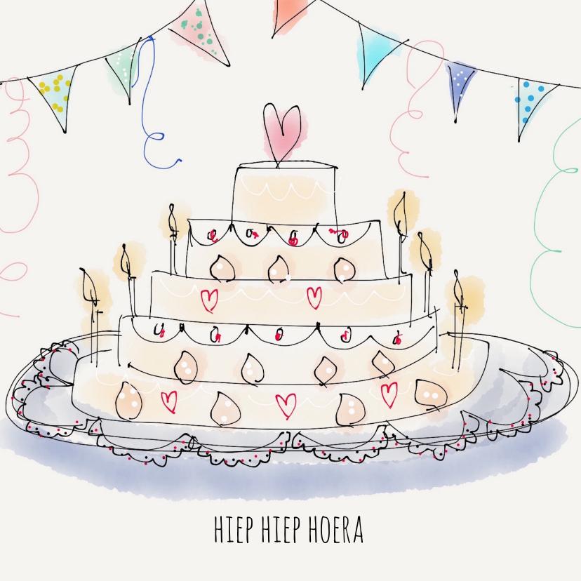 Verjaardagskaarten - Verjaardagskaart Taart Hartje