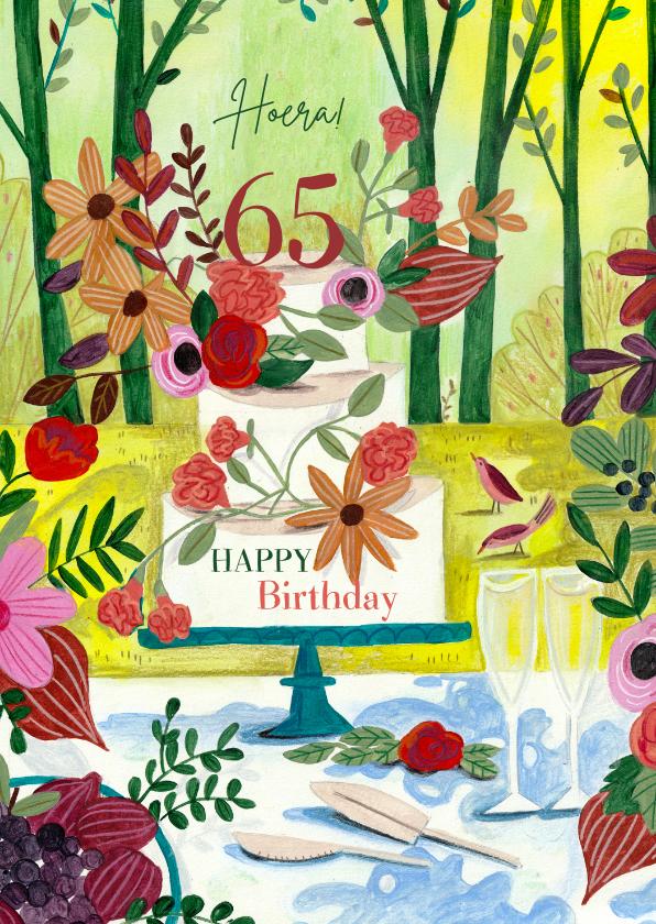 Verjaardagskaarten - Verjaardagskaart taart in het bos met leeftijd.