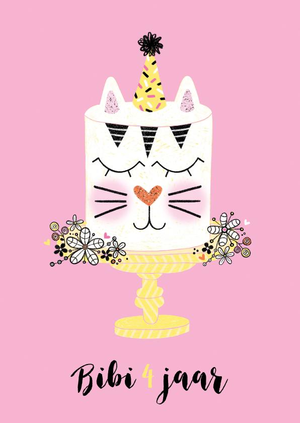 Verjaardagskaarten - Verjaardagskaart taart konijn roze