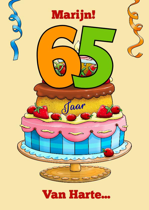 Verjaardagskaarten - Verjaardagskaart taart met aanpasbare cijfers 65