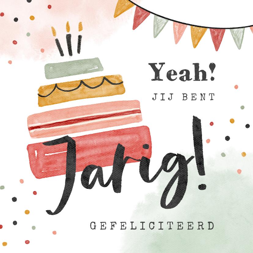 Verjaardagskaarten - Verjaardagskaart taart slingers confetti waterverf