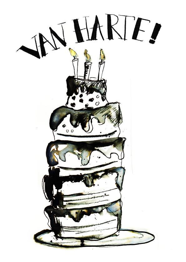 Verjaardagskaarten - Verjaardagskaart taart zwart wit