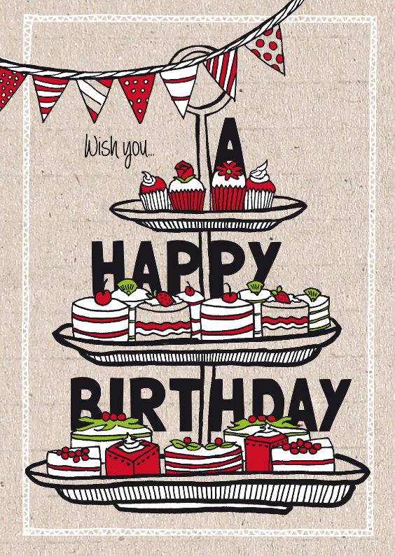 Verjaardagskaarten - Verjaardagskaart taartjes en cupcakes