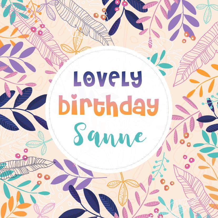 Verjaardagskaarten - Verjaardagskaart takjes en bloemen