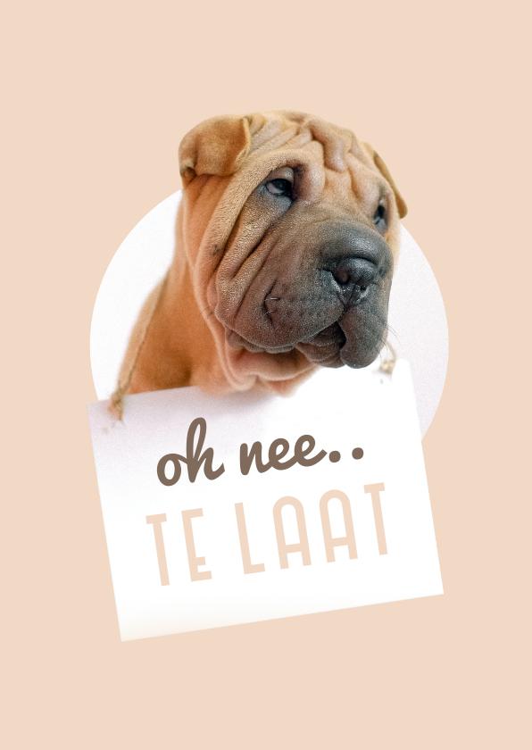 Verjaardagskaarten - Verjaardagskaart te laat hond met bordje